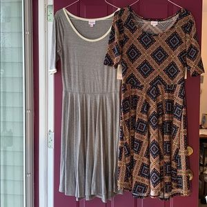 Lot of 2 Lularoe Nicole Dresses Grey and Geometric